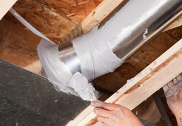 ducts being sealed by professional